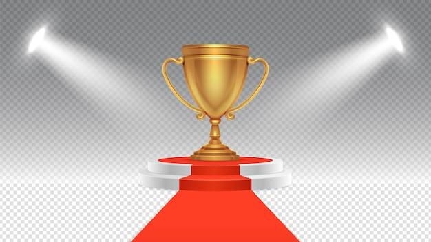 Premio concurso. podio de la victoria, pedestal deportivo o empresarial con focos. alfombra roja iluminada y escenario con ilustración de copa de oro. podio de ceremonia, victoria de pedestal para el campeón