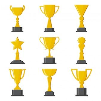 Premio copas de oro. ilustración