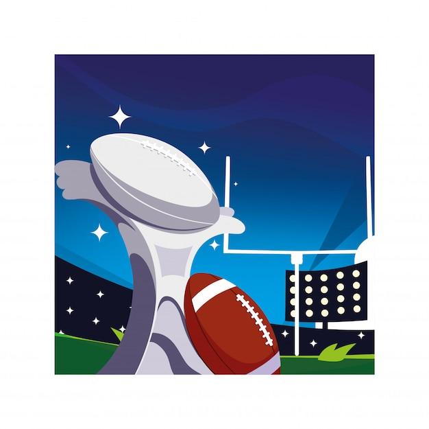 Premio deportivo de fútbol americano en estadio de fútbol