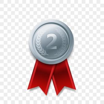 Premio ganador de 2 medallas de plata con icono realista de cinta aislado. número uno, segundo segundo lugar o premio al mejor campeón de la victoria, medalla de plata brillante.