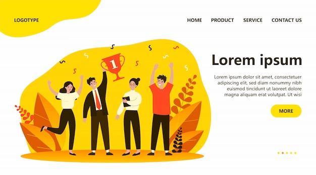 Premio ganador del equipo de negocios feliz