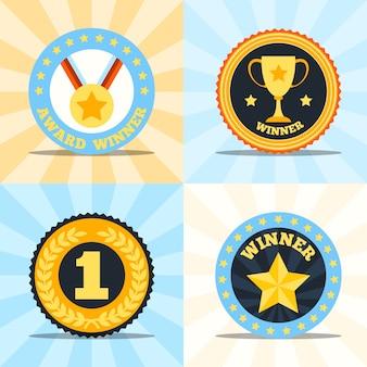 Premio ganador plana etiquetas conjunto de medalla taza laurel estrella guirnalda aislado