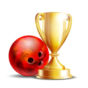 Premio de juego de bolos. bola de boliche y copa de oro. torneo moderno. folleto de element for sport promotion o flyer de la liga de competición de bolos. ilustración en blanco