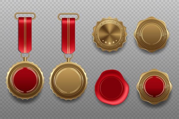 Premio medallas en blanco de oro 3d ilustración realista