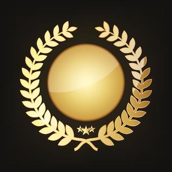 Premio de oro con corona de laurel. ilustración