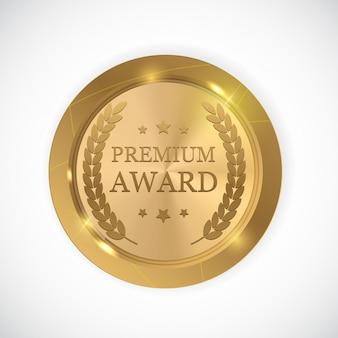 Premio premium medalla de oro.