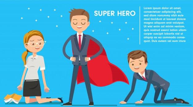 Premio de superhéroe en el trabajo de crisis en la oficina