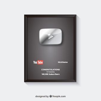 Premio por suscriptores de youtube con diseño plano