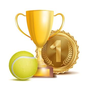Premio de tenis con medalla de oro y trofeo
