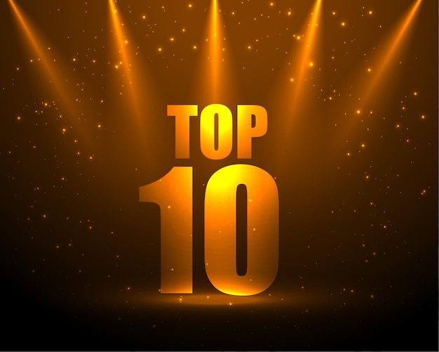 Premio top 10 con efecto de luz puntual