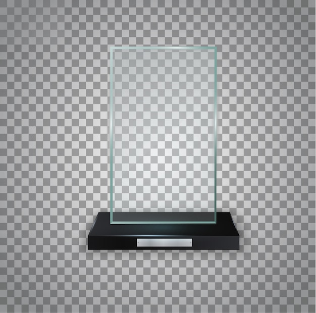 Premio transparente brillante para el premio. trofeo de cristal.