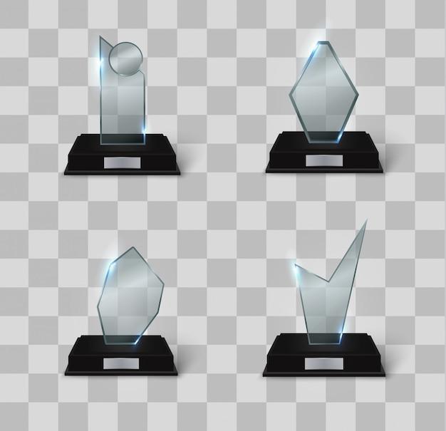 Premio trofeo de cristal en blanco. premio vacío realista.