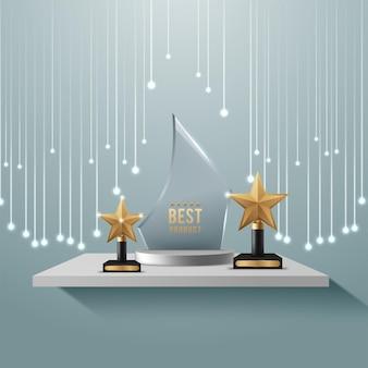 Premio trofeo de cristal brillando con luz
