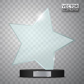 Premio trofeo de cristal. premio en forma de estrella