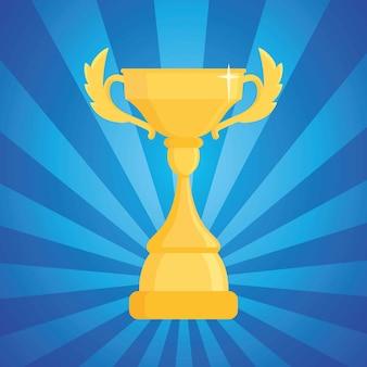 Premio trofeo ilustración. copa del ganador en un azul a rayas con luz.