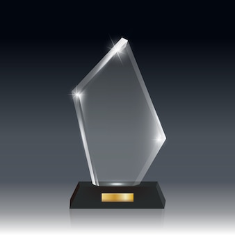 Premio trofeo de vidrio acrílico en blanco realista transparente