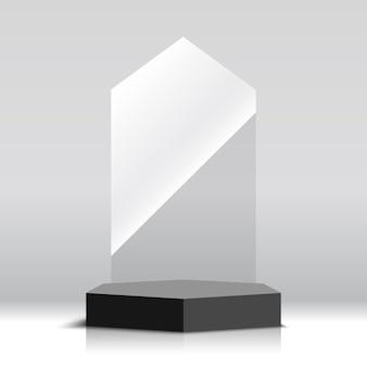 Premio trofeo de vidrio vacío. ilustración.