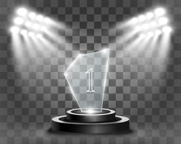 Premio de vidrio. estatuilla para el ganador.