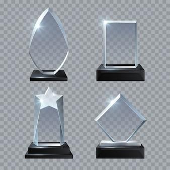Los premios en blanco del cristal del trofeo aislaron la colección de las plantillas del vector. trofeo de cristal premio, ilustración de logro panel base