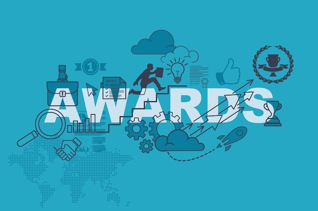 Premios concepto de banner de sitio web con diseño plano de línea delgada