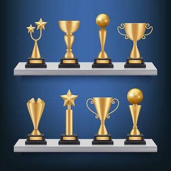 Premios de estanterías. trofeos, medallas y copas en estantería