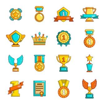 Premios medallas tazas iconos conjunto