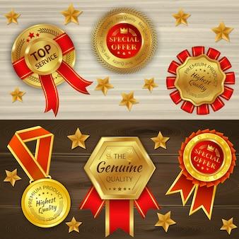 Premios realistas sobre fondo con textura de madera con medallas de oro rojas y estrellas aisladas