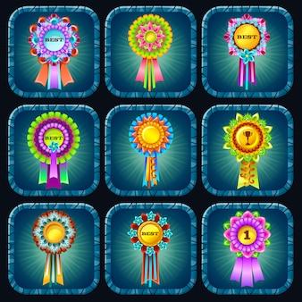 Premios de rosetas para juegos de computadora.