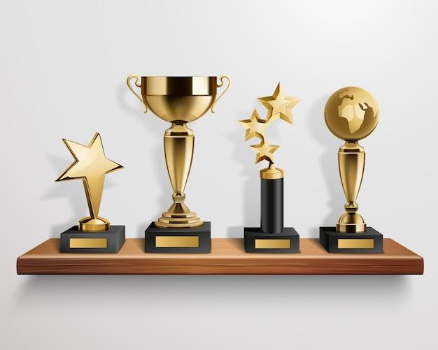 Premios de trofeo de oro brillante realista en estante de madera sobre fondo gris ilustración vectorial