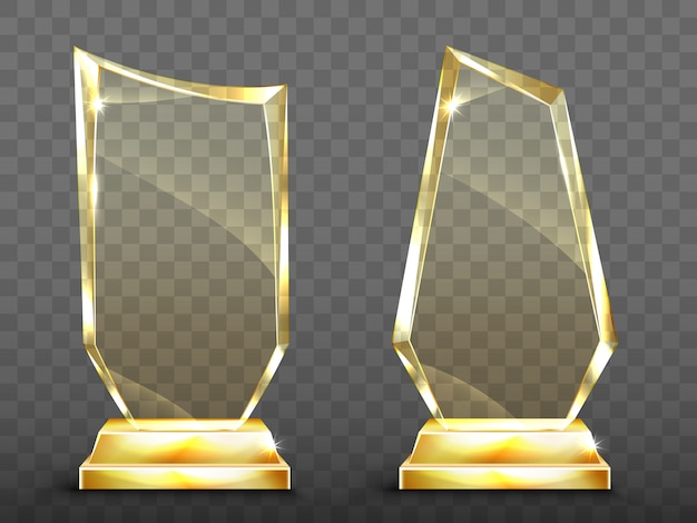 Premios de trofeo de vidrio realista de vector sobre base de oro