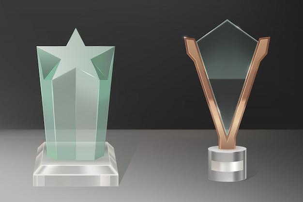 Premios de trofeo de vidrio realista de vector