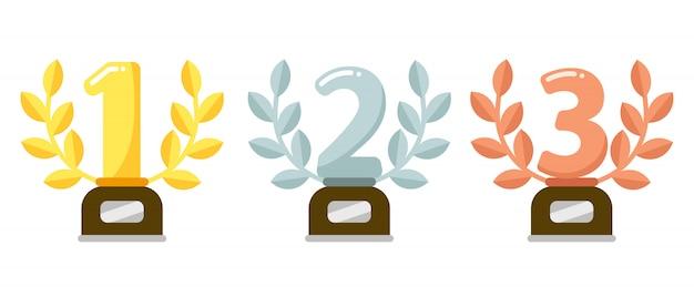 Premios trofeos. premio de la copa de oro del primer lugar, corona de laurel de plata y trofeos de bronce ilustración plana