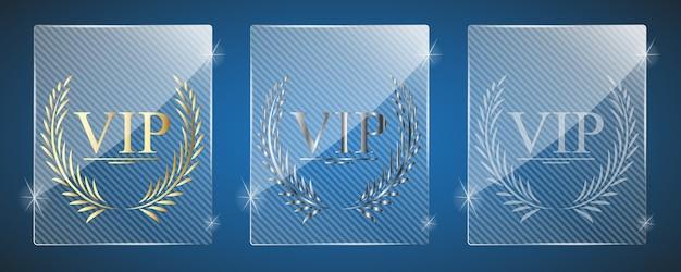 Premios vip de vidrio. ilustración. tres variantes.