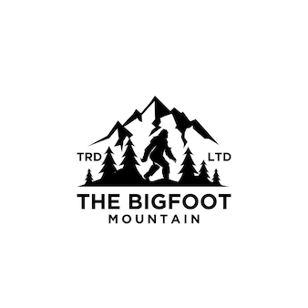 Premium big foot yeti vector logo negro diseño de icono