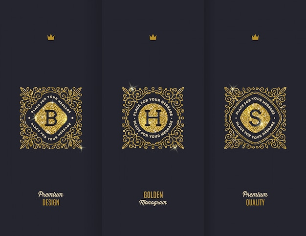 Premium - monogramas de oro brillante.