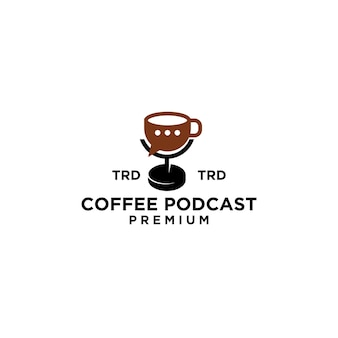 Premium mug podcast coffee diseño de logotipo simple vector negro
