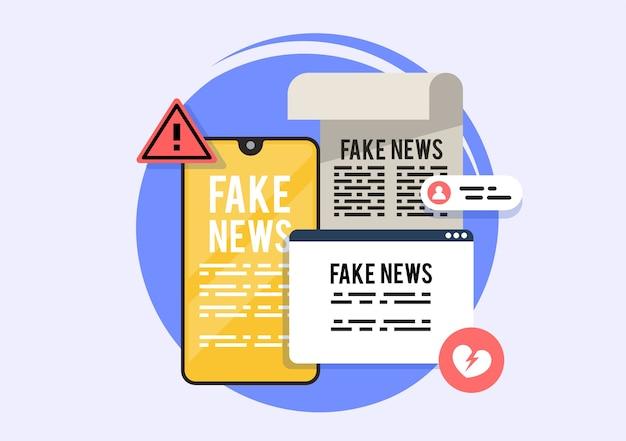 La prensa amarilla, noticias falsas en la aplicación online. portales de noticias con noticias falsas.