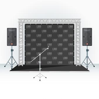 Prensa de color, escenario de pared y altavoces de micrófono