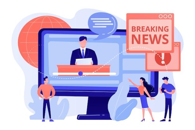 Prensa, medios de comunicación, estudio de radiodifusión. periodistas, personajes de reporteros. información en línea caliente, noticias de última hora, ilustración de concepto de contenido de noticias de titulares