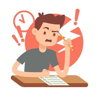 Preocupado estudiante adolescente molesto en el examen