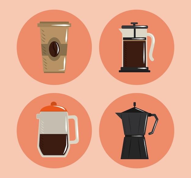 Preparación de café, taza desechable, prensa francesa, olla moka e iconos de fabricante, ilustración vectorial