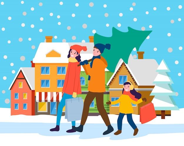 Preparación familiar para navidad, paisaje de la ciudad