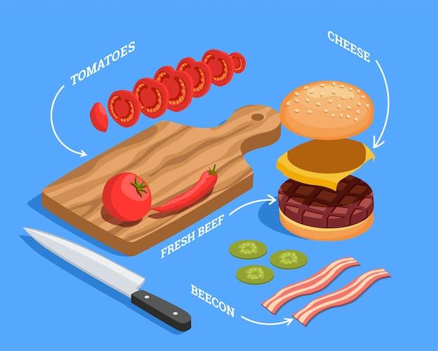 Preparación isométrica de hamburguesa con queso