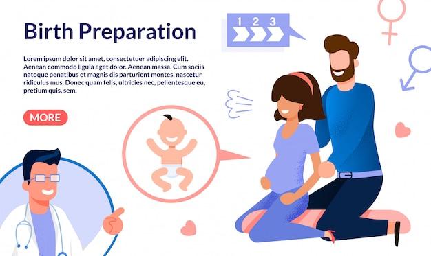 Preparación para el parto banner web plano