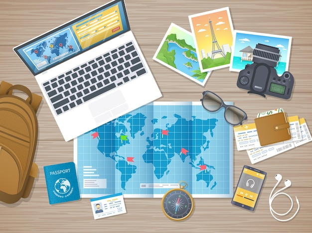 Preparación para el recorrido de senderismo viajes de vacaciones planificación de lista de verificación de empaque guía de mapas turísticos