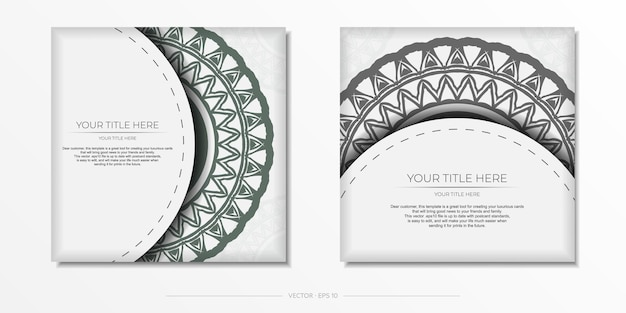 Preparación de vector de tarjeta de invitación con lugar para el texto y adornos vintage. lujoso diseño de postal en blanco listo para imprimir con patrones griegos oscuros.