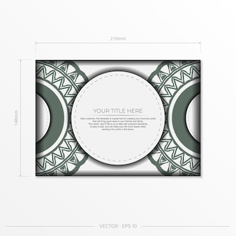 Preparación de vector de tarjeta de invitación con lugar para el texto y patrones vintage. plantilla de lujo para postales de diseño imprimibles en color blanco con motivos griegos oscuros.