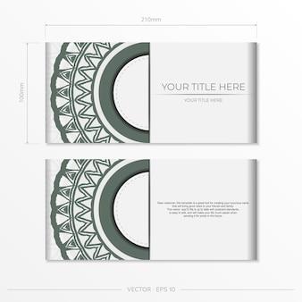 Preparando una invitación con un lugar para tu texto y adornos vintage. plantilla de vector de lujo para diseño de impresión postal color blanco con adornos griegos oscuros.