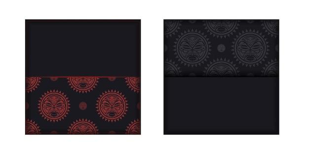 Preparando una invitación con un lugar para tu texto y un rostro en adornos de estilo polizeniano. plantilla para imprimir postales de diseño en color negro con una máscara de los dioses.