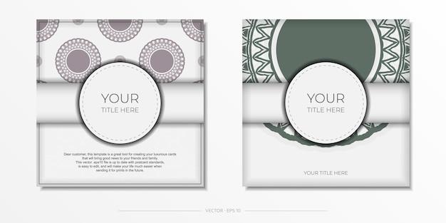 Preparando una tarjeta de invitación con un lugar para su texto y patrones vintage. plantilla de lujo para postal de diseño de impresión en color blanco con ornamentos griegos oscuros.
